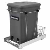 Rev-A-Shelf Single Orion Gray 6-gallon Compo+ Container Waste Pullout with Chrome Wire Bottom Mount, Minimum Cabinet Opening: 11''W x 19''D x 18-1/4''H