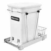 Rev-A-Shelf Single White 6-gallon Compo+ Container Waste Pullout with Chrome Wire Bottom Mount, Minimum Cabinet Opening: 11''W x 19''D x 18-1/4''H