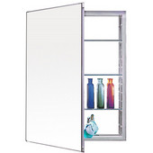Series PLM Frameless Concealed Surface Single Door Medicine Cabinet with Plain Mirror or Beveled Mirror, & Black or White Interior, 15-1/4''W x 4''D x 30''H