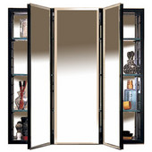 PLM Series Three Door Framed Concealed Surface Aluminum Medicine Cabinet w/ Beveled Mirrors & Black or White Interior