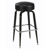 Regal Metal Bar Stool with Black Frame, Chrome Footrest & Upholstered Seat, 26'' H