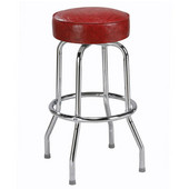 Regal Chrome Metal Bar Stool with Upholstered Swivel Seat and Chrome Footrest, 26''H