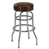 Regal Chrome Metal Double Ring Bar Stool with Upholstered Swivel Seat & Chrome Footrest, 26''H