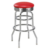 Regal Chrome Metal Double Ring Bar Stool with Metal/ Upholstered Swivel Seat & Chrome Footrest, 26''H