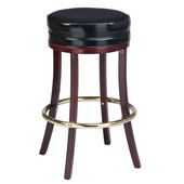 Regal Backless Wood Bar Stool with Upholstered Seat