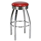 Regal Chrome Metal Bar Stool with Upholstered Swivel Seat & Chrome Footrest, 30''H