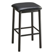 Regal Backless Metal Bar Stool with Black Frame & Upholstered Seat