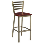 Regal Ladderback Metal Bar Stool with Black Frame & Wooden Seat