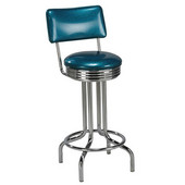 Regal Chrome Metal Bar Stool with Upholstered Swivel Seat & Chrome Footrest