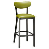 Regal Metal Bar Stool with Black Frame, Upholstered Seating for Multiple Seat Heights