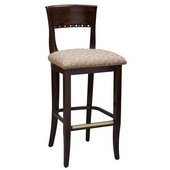 Regal Wood Bar Stool with Upholstered Seat