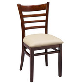 Regal Ladderback Wood Chair with Upholstered Seat