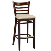 Regal Ladderback Wood Bar Stool with Upholstered Seat