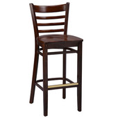 Regal Ladderback Wood Bar Stool with Wooden Seat