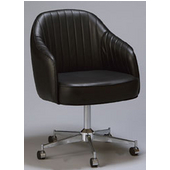 Regal Metal Swivel Bucket Chair with Black Frame & Upholstered Seat/Back/Arms