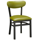 Regal Metal Chair with Black Frame & Upholstered Seat