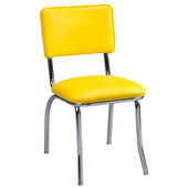 Regal Metal Chair with Chrome Frame & Upholstered Seat