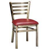 Regal Ladderback Metal Chair with Black Frame & Upholstered Seat