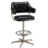 Regal Armchair Bar Stool with Black Frame, Upholstered Swivel Seat & Back/Arms with Chrome Footrest, 30''H