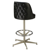 Regal Metal Pedestal Bar Stool with Black Frame, Upholstered Seat & Chrome Footrest, 26''H