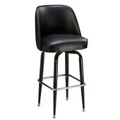 Regal Black Metal Backed Bar Stool with Smooth Upholstered Swivel Chair Seat & Chrome Footrest, 30''H
