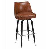 Regal Black Metal Backed Bar Stool with Upholstered Swivel Chair Seat & Chrome Footrest, 26''H