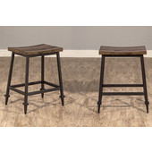 Trevino Backless Non-Swivel Counter Height Stool - Set of 2, Distressed Walnut / Copper Brown Metal