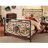 Mercer Collection California King Bed Set with Rails in Antique Brown (Set Includes: Headboard, Footboard and Rails)