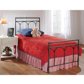 McKenzie Collection Twin Bed Set with Rails in Brown Steel (Set Includes: Headboard, Footboard and Rails)