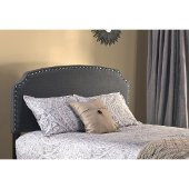 Lani King Headboard with Rails Included in Dark Linen Gray Fabric, 80-3/4'' W x 73-3/4'' D x 48'' H