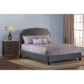 Lani Cal King Size Bed with Rails Included in Dark Linen Gray Fabric, 80-3/4'' W x 91'' D x 48'' H