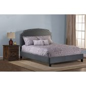 Lani King Size Bed with Rails Included in Dark Linen Gray Fabric, 80-3/4'' W x 86'' D x 48'' H