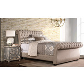 Bombay Bed Set, King, with Rails, Pewter Finish, 84-1/4''W x 81-7/8''D x 47-1/2''H