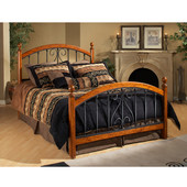 Burton Way Collection Way Full Bed Set with Rails in Black Powder Coat/Cherry (Set Includes: Headboard, Footboard and Rails)