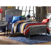 Urban Quarters Full Size Panel Bed Set with Rails Included in Black Steel Finish, 55-1/4'' W x 71-1/4'' D x 50'' H