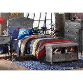 Urban Quarters Full Size Panel Bed Set with Bench and Rails Included in Black Steel Finish, 55-1/4'' W x 71-1/4'' D x 50'' H