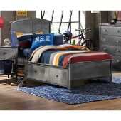 Urban Quarters Full Size Panel Storage Bed with Rails Included in Black Steel Finish, 55-1/4'' W x 78'' D x 50'' H