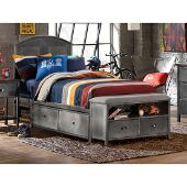 Urban Quarters Full Size Panel Storage Bed Set with Footboard Bench and Rails Included in Black Steel with Antique Cherry Finished Metal Finish, 55-1/4'' W x 78'' D x 50'' H