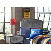 Urban Quarters Twin Size Panel Headboard with Frame Included in Black Steel Finish, 40-1/4'' W x 63'' D x 50'' H
