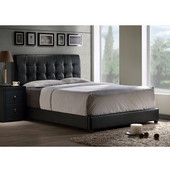 62-1/2'' W x 82'' D x 47-1/4'' H Lusso Queen Bed Set w/ Rails in Black Faux Leather