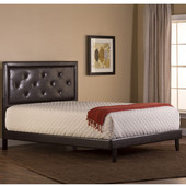 Becker Queen Bed Set, with Rails, Brown Faux Leather Finish, 63'' W x 81-1/4'' D x 52-1/4'' H