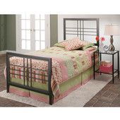 Tiburon Collection Twin Bed Set with Rails in Magnesium Pewter (Set Includes: Headboard, Footboard and Rails)