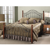 Martino Collection Queen Bed Set with Rails in Smoke Silver/Cherry (Set Includes: Headboard, Footboard and Rails)