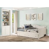 Staci Full Size Daybed with Trundle Drawer in White Finish, 56'' W x 81-1/2'' D x 37'' H