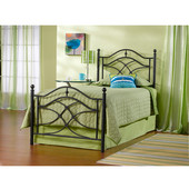 Cole Collection Twin Bed Set with Rails in Black Twinkle (Set Includes: Headboard, Footboard and Rails)