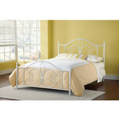 Ruby Collection Full Bed Set, Metal Posts with Rails in Textured White (Set Includes: Headboard, Footboard and Rails)