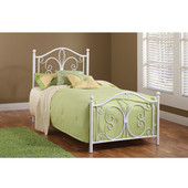 Ruby Collection Twin Bed Set, Metal Posts, with Rails in Textured White (Set Includes: Headboard, Footboard and Rails)