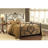 Newton Collection King Bed Set with Rails in Antique Brown Highlights (Set Includes: Headboard, Footboard and Rails)
