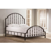 Westgate King Bed Set With Rails, Rustic Black Finish