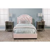 Karley Twin Size Bed Set with Rails Included in Embossed Pink Faux Leather Fabric, 42-7/8'' W x 83-1/4'' D x 47-1/4'' H